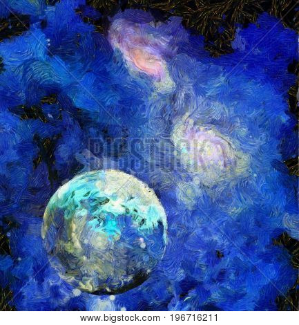 Exo-Solar Planet Painting  3D rendering  Some elements provided courtesy of NASA