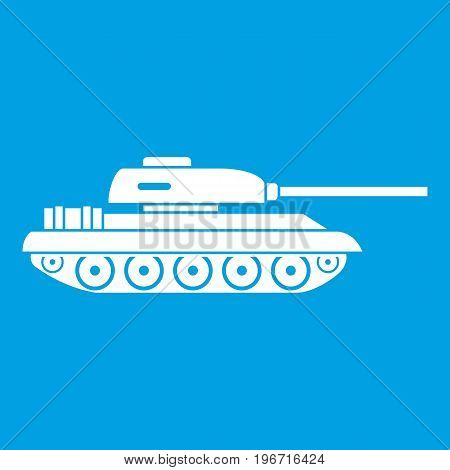 Tank icon white isolated on blue background vector illustration