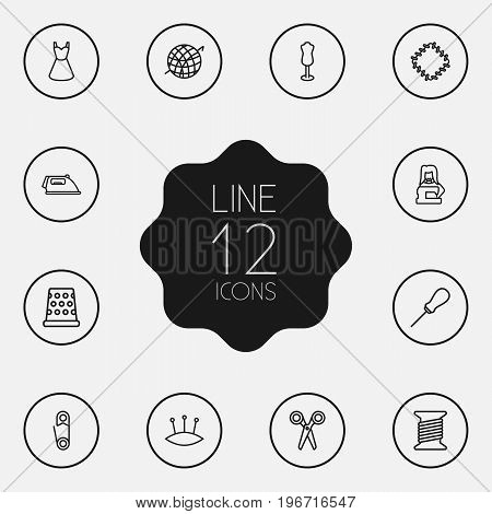 Collection Of Dummy, Tremble, Awl And Other Elements.  Set Of 12 Stitch Outline Icons Set.