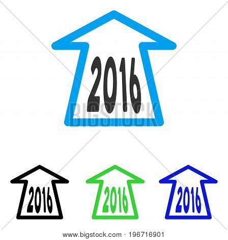 2016 Ahead Arrow vector pictograph. Illustration style is a flat iconic colored symbol with different color versions.