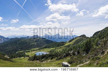 View from Gartnerkofel on Nassfeld to Julian Alps in Italy in summer