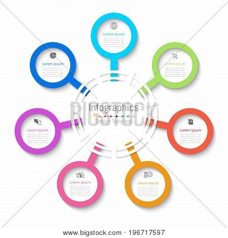 Infographic design elements for your business data with 7 options parts steps timelines or processes. Paper style Vector Illustration.