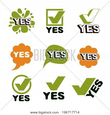 Green yellow checkmark correct set symbol. Vector verify yes sign isolated on white.