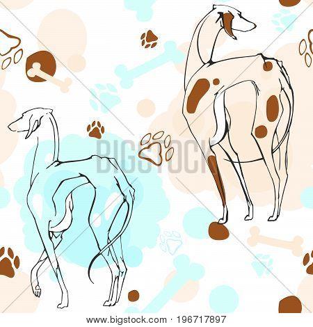 vector illustration pattern pet dogs, bones, claws