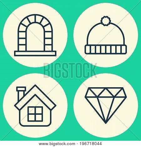 Holiday Icons Set. Collection Of Knitted Cap, Residential, Brilliant And Other Elements