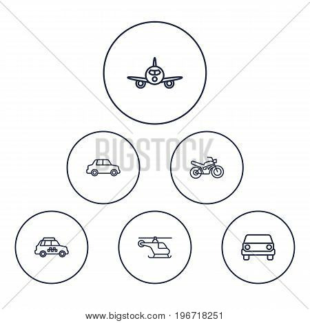 Collection Of Motorcycle, Helicopter, Taxi And Other Elements.  Set Of 6 Traffic Outline Icons Set.