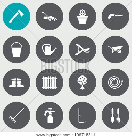 Collection Of Spray Bootle, Tools, Garden Hose And Other Elements.  Set Of 16 Household Icons Set.