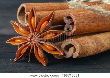 Closeup Of Anise Star And Cinnamon Stick On Dark Background