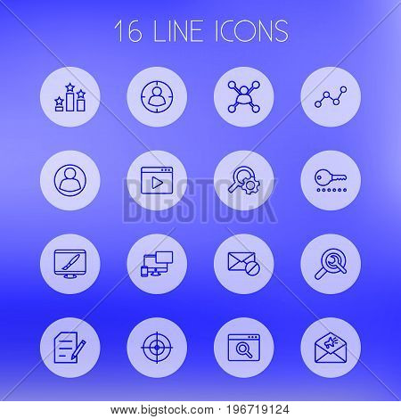 Collection Of Columns, Web Design, Block And Other Elements.  Set Of 16 Search Outline Icons Set.