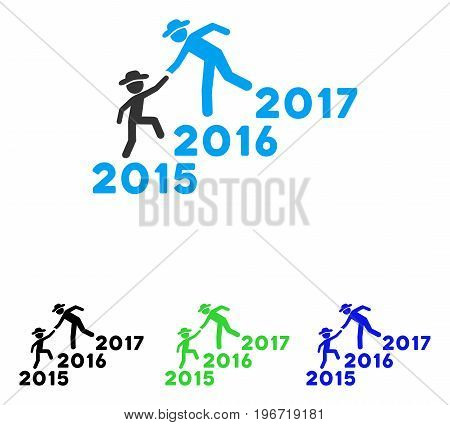 Years Guys Help vector pictogram. Illustration style is a flat iconic colored symbol with different color versions.