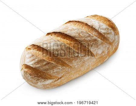 Baguette loaf isolated at white background. Fresh long loaf with golden crust