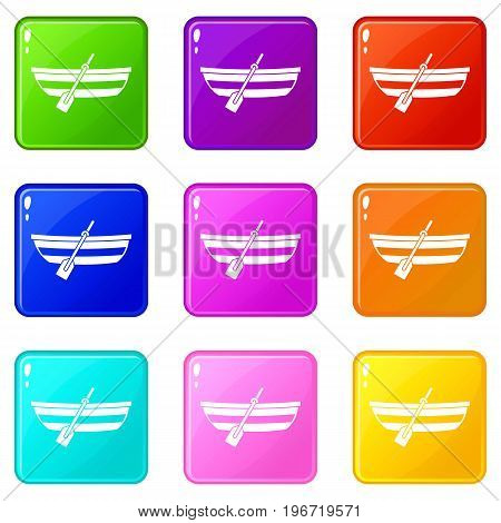 Fishing boat icons of 9 color set isolated vector illustration