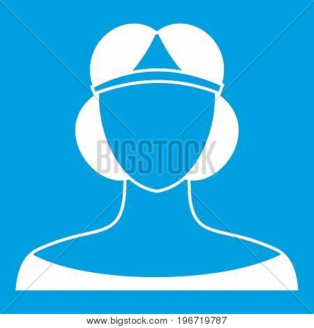 Medieval woman in tiara icon white isolated on blue background vector illustration