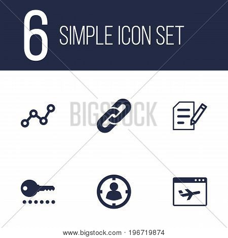 Collection Of Airplane, Site, Searching And Other Elements.  Set Of 6 Engine Icons Set.
