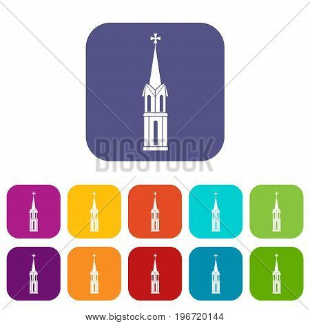 Church icons set vector illustration in flat style in colors red, blue, green, and other