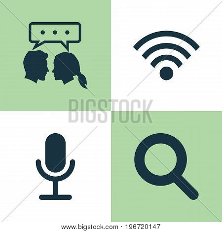 Media Icons Set. Collection Of Wireless Connection, Magnifier, Video Chat And Other Elements