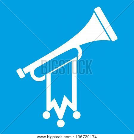 Trumpet with flag icon white isolated on blue background vector illustration