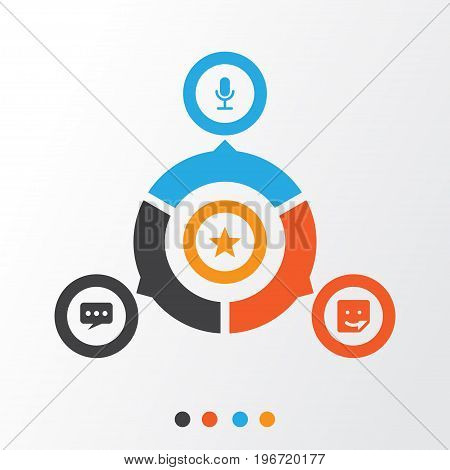 Social Icons Set. Collection Of Star, Video Chat, Chat And Other Elements