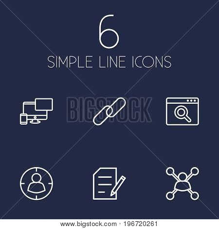 Collection Of Url, Style, Targeting And Other Elements.  Set Of 6 Engine Outline Icons Set.