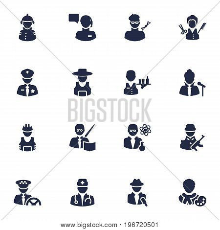 Collection Of Leaner, Tray, Producer And Other Elements.  Set Of 16 Professions Icons Set.