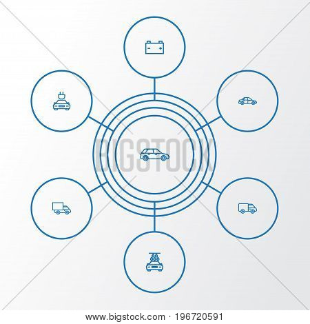 Auto Outline Icons Set. Collection Of Washing, Lorry, Sedan And Other Elements