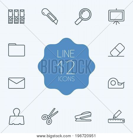 Collection Of Eraser, File Folder, Zoom Glasses And Other Elements.  Set Of 12 Tools Outline Icons Set.