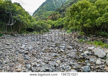 The Iao River is low in July. But everything is still green. around it.