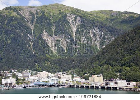 The view Alaska's capital Juneau next to Juneau mountain.