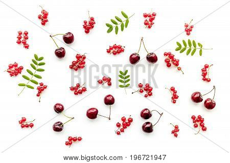 Berry pattern on white background top view