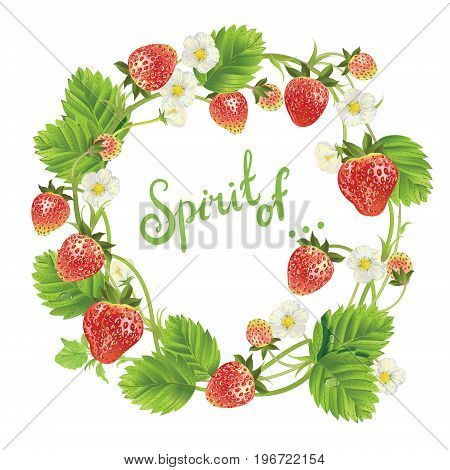 Vector strawberry round frame. Vector realistic illustration. Isolated on white background. Wreath shape with phrase Spirit of. for textile, t shirts, greetings card