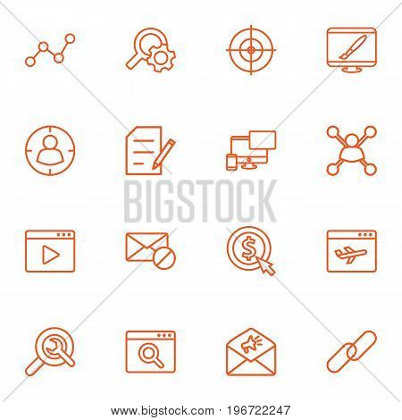 Collection Of Stock Exchange, Landing Page, SEO Test Elements.  Set Of 16 Optimization Outline Icons Set.