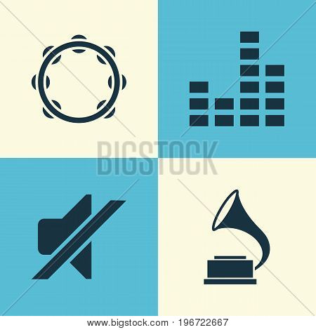 Music Icons Set. Collection Of Phonograph, Timbrel, Silence And Other Elements
