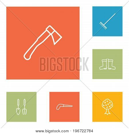 Collection Of Instruments, Harrow, Hatchet And Other Elements.  Set Of 6 Household Outline Icons Set.