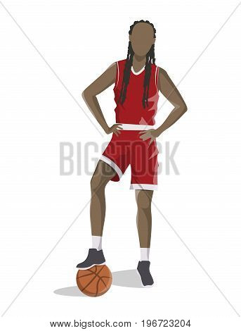 Woman plays basketball. Isolated african american character on white background.