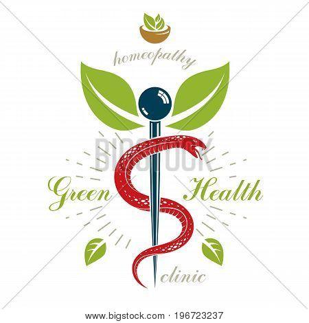 Caduceus vector conceptual emblem created with mortar and pestle. Wellness and harmony metaphor. Alternative medicine concept phytotherapy logo.