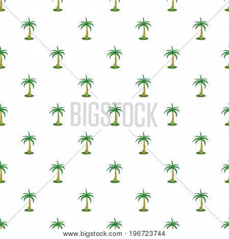Single palm tree pattern seamless repeat in cartoon style vector illustration