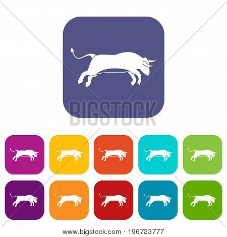 Bull icons set vector illustration in flat style in colors red, blue, green, and other