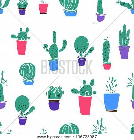 Set of different plants, cactus. Hand drawn vector illustration.