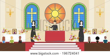 Liturgy at church. Nuns with priest in black outfit. Decorative glass and crosses.