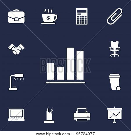 Collection Of Office Chair, Clip, Diplomat And Other Elements.  Set Of 13 Bureau Icons Set.