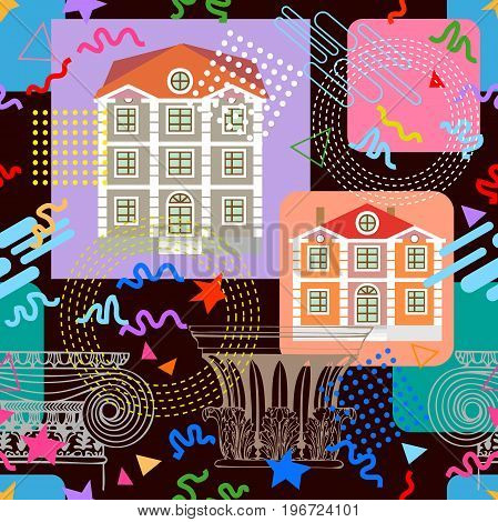 Historical buildings, architectural elements and geometric shapes. Vintage textile collection.