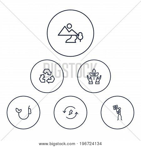 Collection Of Nature, Renewable Energy, Landscape Elements.  Set Of 6 Atmosphere Outline Icons Set.