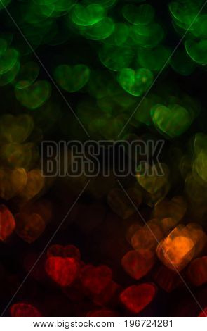 Beautiful Background With Different Colored Heart , Abstract Background, Heart Shapes On Black Backg