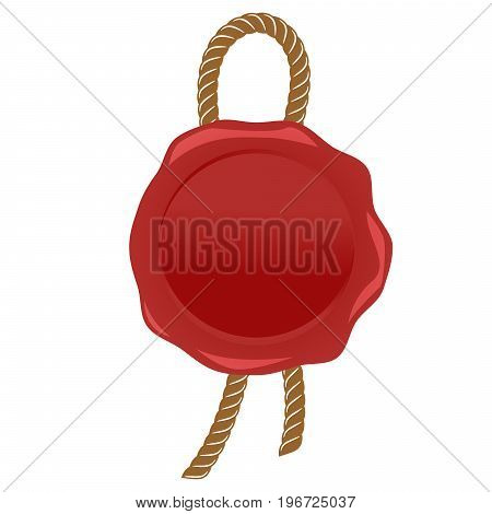 Wax seal red stamp with rope vector isolated on white background.