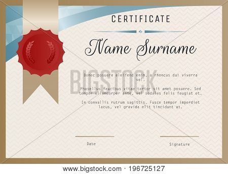 Certificate blank template vector with wax seal stamp and ribbon.