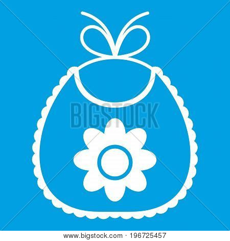Baby bib icon white isolated on blue background vector illustration