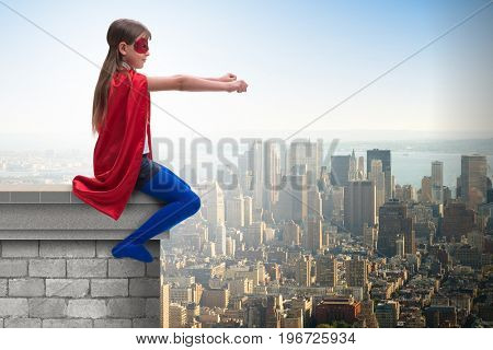 Little kid protecting the city from evil