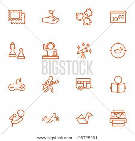 Collection Of Chess, Guitar, Hunting And Other Elements.  Set Of 16 Entertainment Outline Icons Set.
