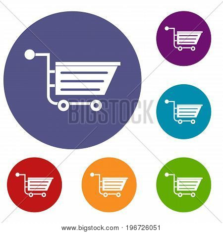 Sale shopping cart icons set in flat circle red, blue and green color for web
