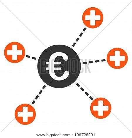 Euro Medical Links vector pictogram. Style is flat graphic symbol.
